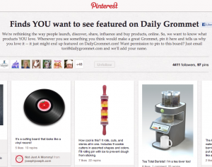 Daily Grommet encourages users to pin on their boards