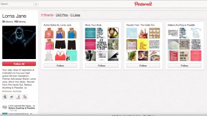 Lorna Jane is now using Pinterest for Brand Awareness