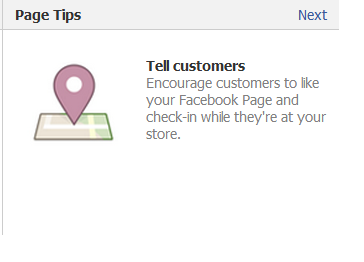 Tell Customers to like your facebook page and check in while at your store