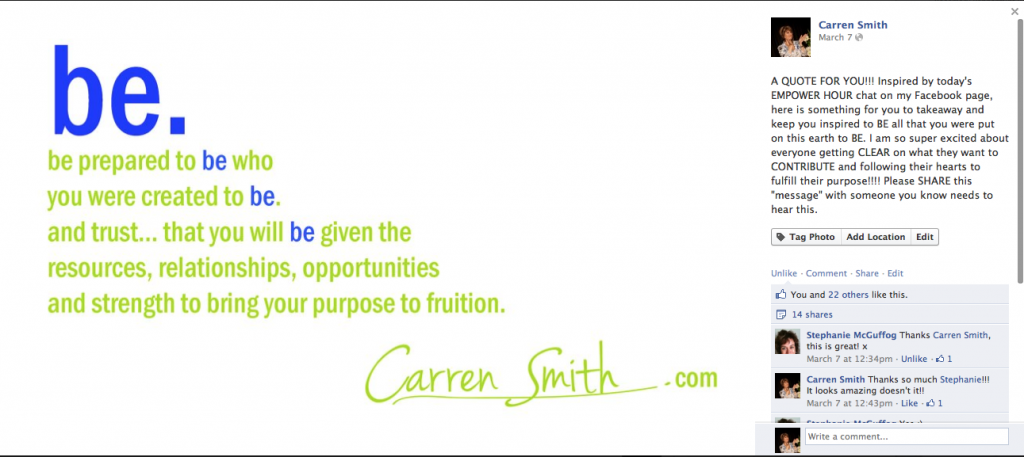 "Carren Smith ""be"" quote"
