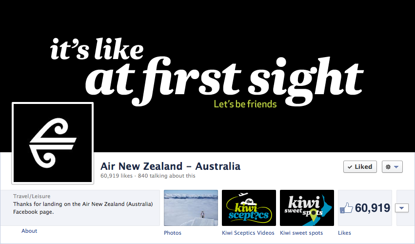 Socially Sorted - Visual Marketing Call to Action (Air New Zealand)
