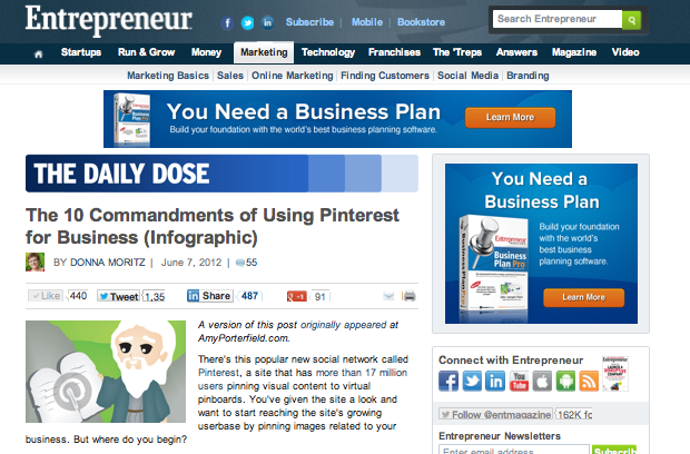 10 Commandments of using pinterest for business (Entrrepreneur magazine)