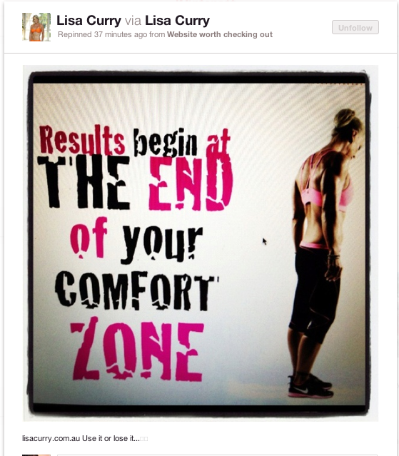 Lisa Curry Quote (Comfort Zone)