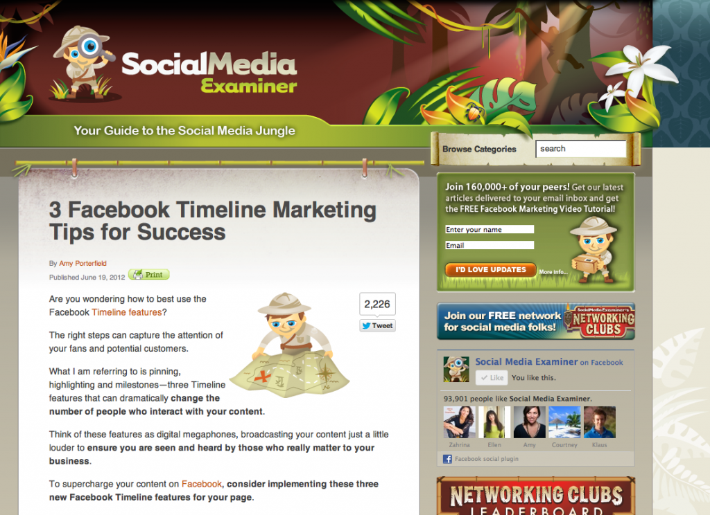 Social Media Examiner article by Amy Porfield mentioning tips from Socially Sorted