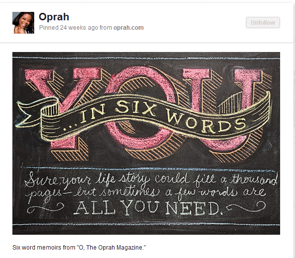 You In Six Words from Oprah