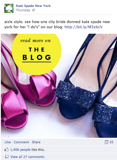 Using Visual Marketing for Social Media Results - www.katespade.com (by www.sociallysorted.com.au)