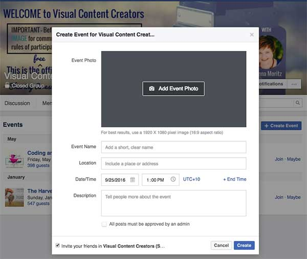 Create a Facebook Event in Your Group