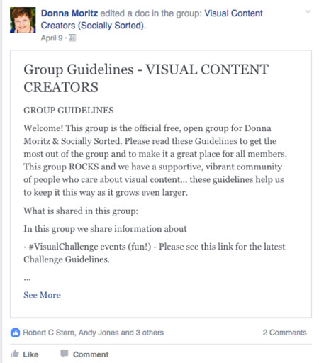 Facebook Group Rules Update - Screenshot - 7 Facebook Group Tools and Tips to Build and Engaged Community