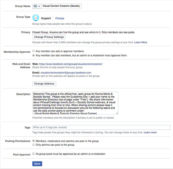 Facebook Group Settings Example