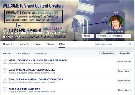 Visual Content Creators Facebook Group Admin Files