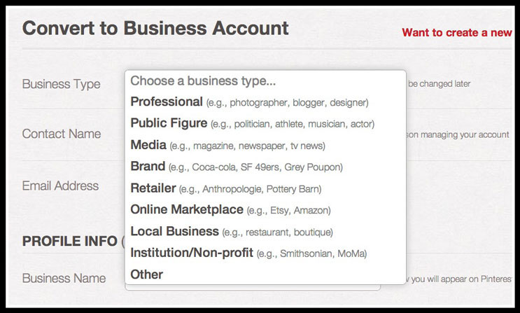 Pinterest Business Account | Business Types
