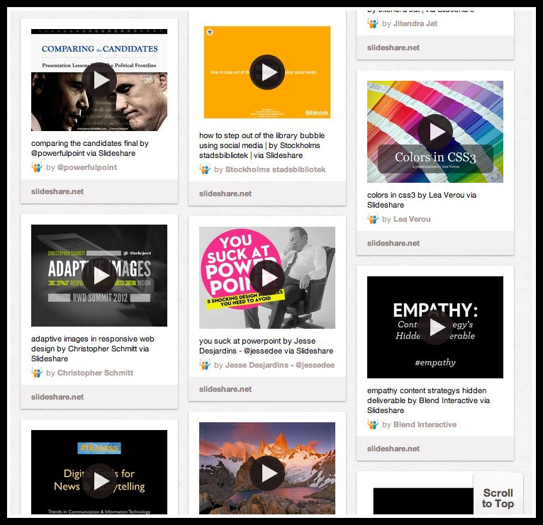Slideshare example on Pinterest