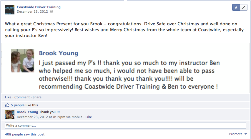 Visual Testimonials - Images - Screenshots - Coastwide Driving