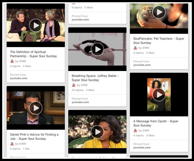 Video Stands out on Pinterest - be like Oprah and pin your video content!