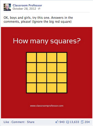 The Classroom Professor Image about How Many Squares