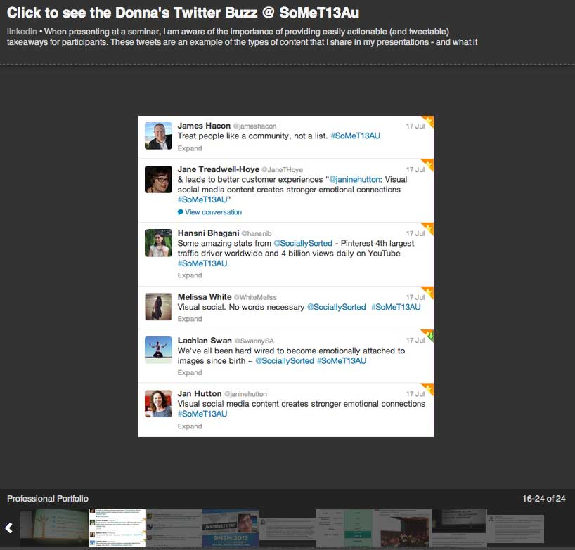 Twitter Buzz on LinkedIn - Image Example - Professional Portfolio - Donna Moritz