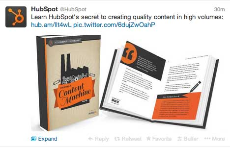 By including a simple image of the content they are promoting, HubSpot immediately stand out on Twitter