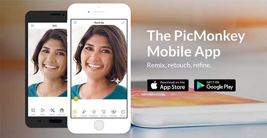 The Picmonkey Mobile app is available on Android and ioS