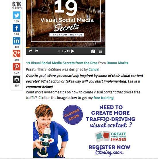 Call to Action with Webinar Banner - How to Use Slideshare to Attract 450k Views of your Content