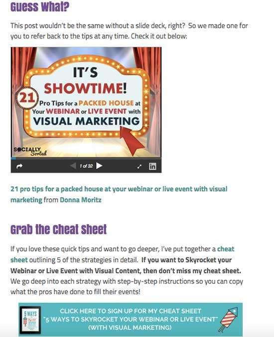 How to Use SlideShare to attract 450k Views of Your Content - example of cheat sheet