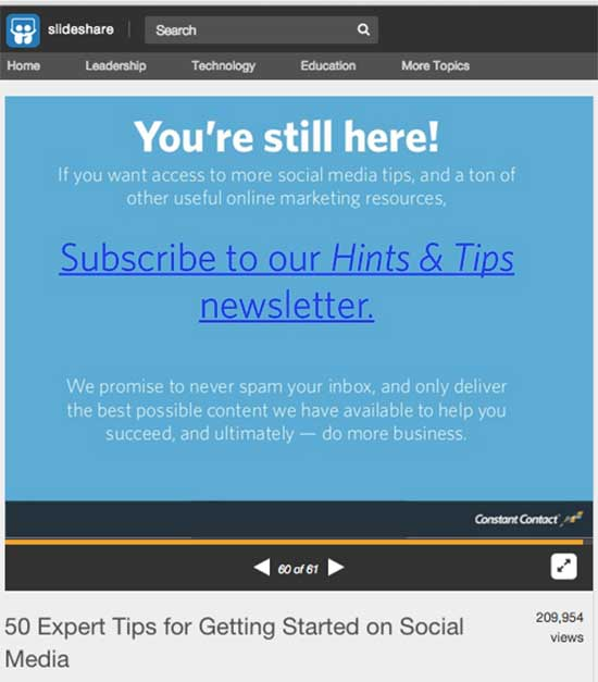 Constant Contact uses a simple call to action on SlideShare