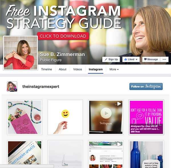 Instagram App on Sue B Zimmerman's Facebook Page - 7 Creative Ways to Increases Instagram Followers