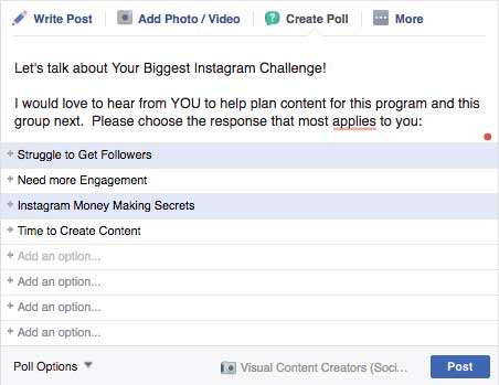 Poll on Facebook - 19 Ways to Survey Your Audience