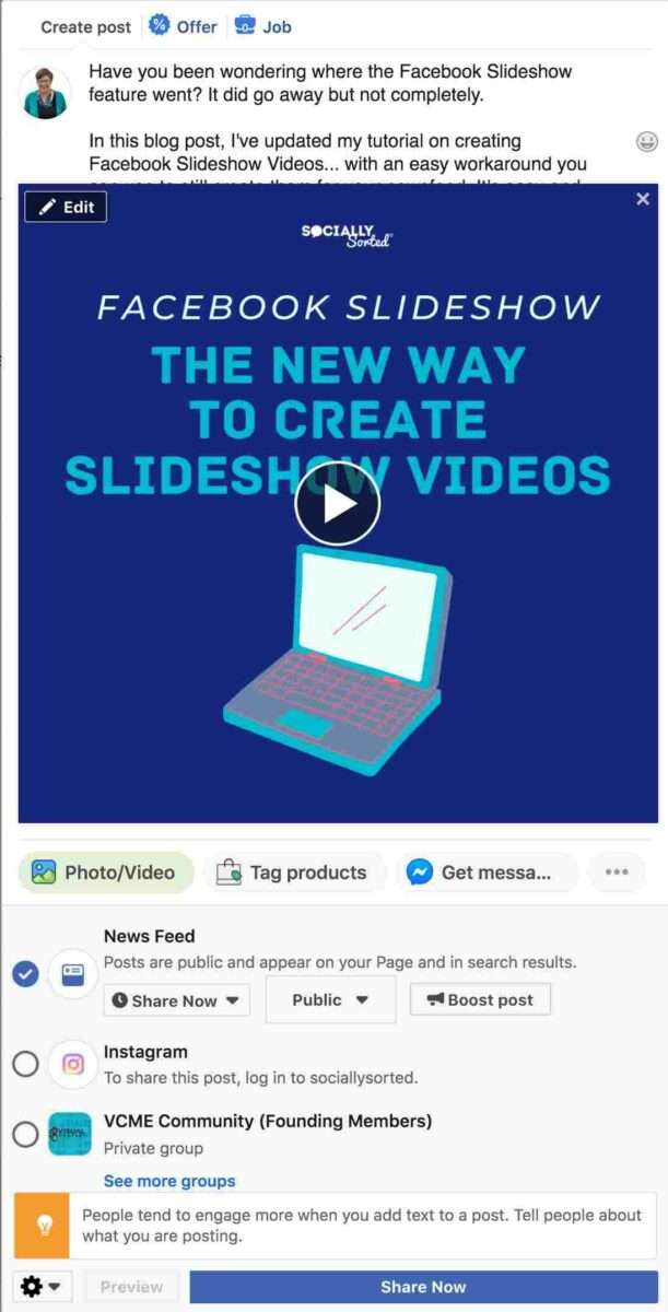 Add your description to your Facebook Slideshow Video post.