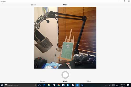 Choose between Library, Photo or Video on Instagram to get content