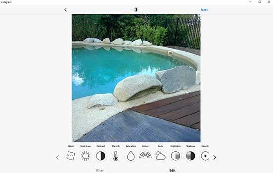 Edit features on Instagram App using Surface Pro