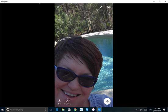 Face to Camera on Instagram Stories on Surface Pro