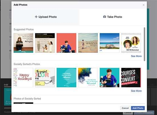 Upload your photos to the Facebook Slideshow editor