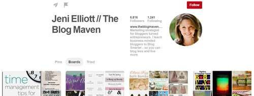 A very well set up pinterest page