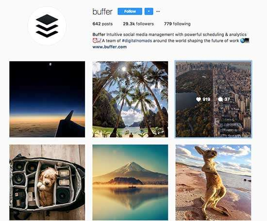 Buffer uses User-Generated Content on Instagram
