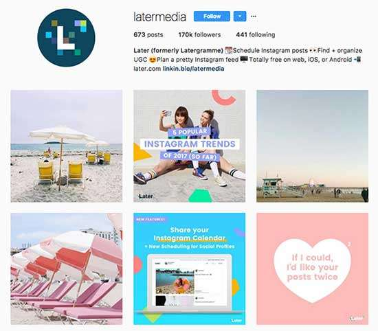 Later uses User-Generated Content on Instagram