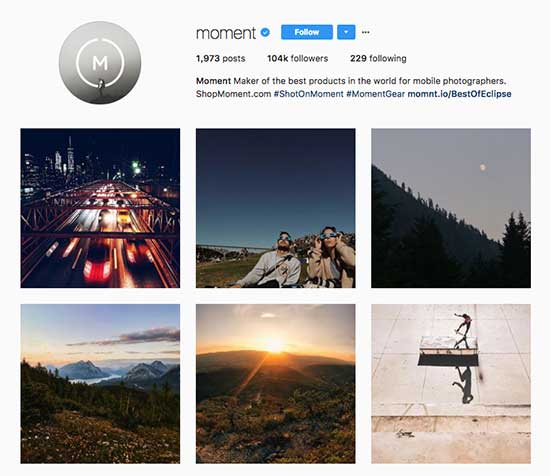 Moment App uses User Generated Content on Instagram