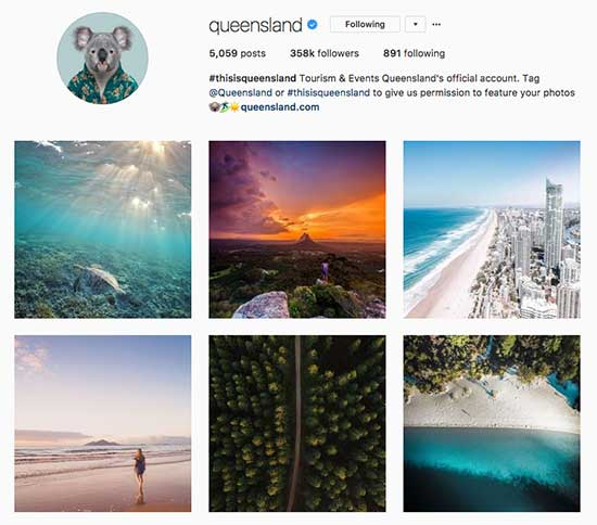 Queensland excels at User Generated Content on Instagram, especially drone photography and video.