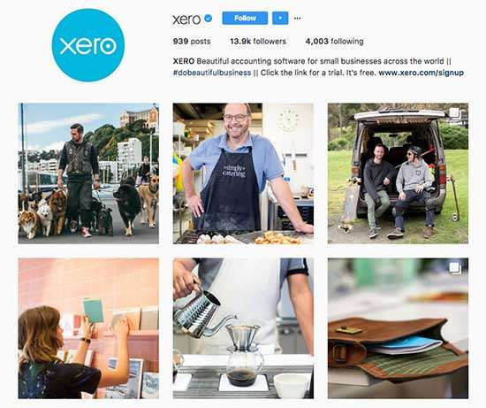 Xero uses effective User-Generated Content on Instagram.