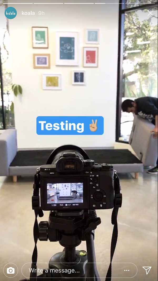 Instagram Stories for Business - testing behind the scenes with Koala Mattresses