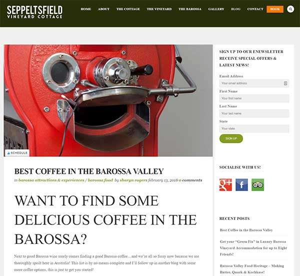 Best Coffeein the Barossa Blog Post Seppeltsfield Vineyard Cottage
