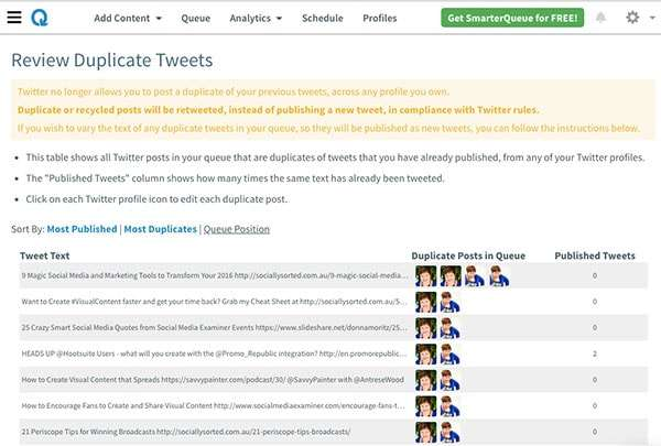 Review Duplicate Tweets in SmarterQueue - 4 Meet Edgar Alternatives That Will Save You Hours of Social media Time ]