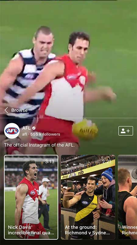 Australian AFL on IGTV - How to Hook Us with Serial Video Content We Can't Stop Watching