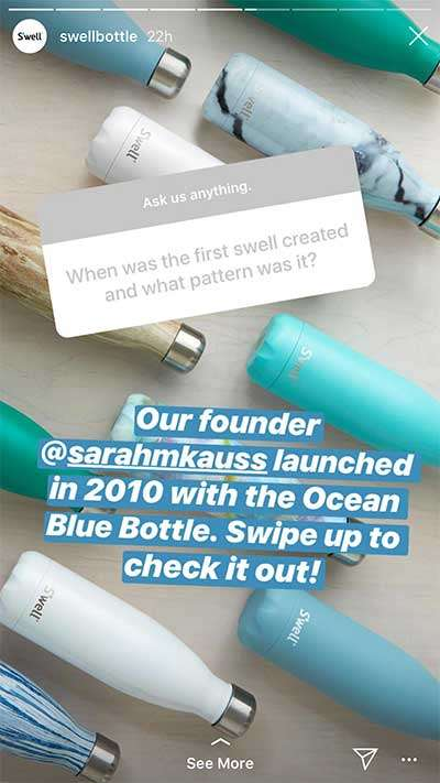 Swell Bottle Question Sticker example - How To Make A Poll On Instagram Stories (That Engages Us To Action)