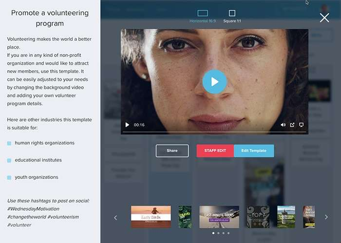 Choosing a topic on Wave.video Calendar - Wave.video Review: The Easy Online Video Editor for Social Media Videos