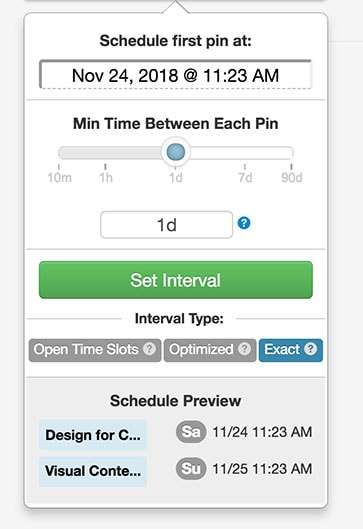 Setting up Interval settings in Tailwind App - How to use Tailwind App for Better Pinterest Marketing Results