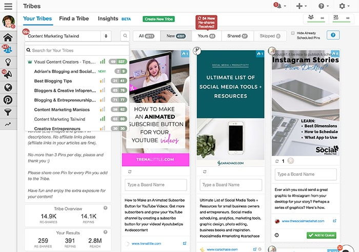 Tailwind Tribes in Tailwind App - How to use Tailwind App for Better Pinterest Marketing Results
