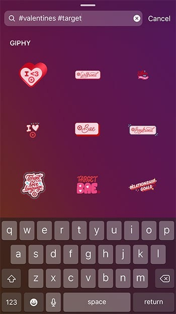 Valentines Day Search on GIF Stickers for Target - 3 Easy Ways to Add Your Own GIF Stickers on Instagram Stories