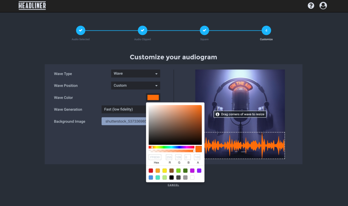 How to add a background image and match colors on Audiograms in Headliner