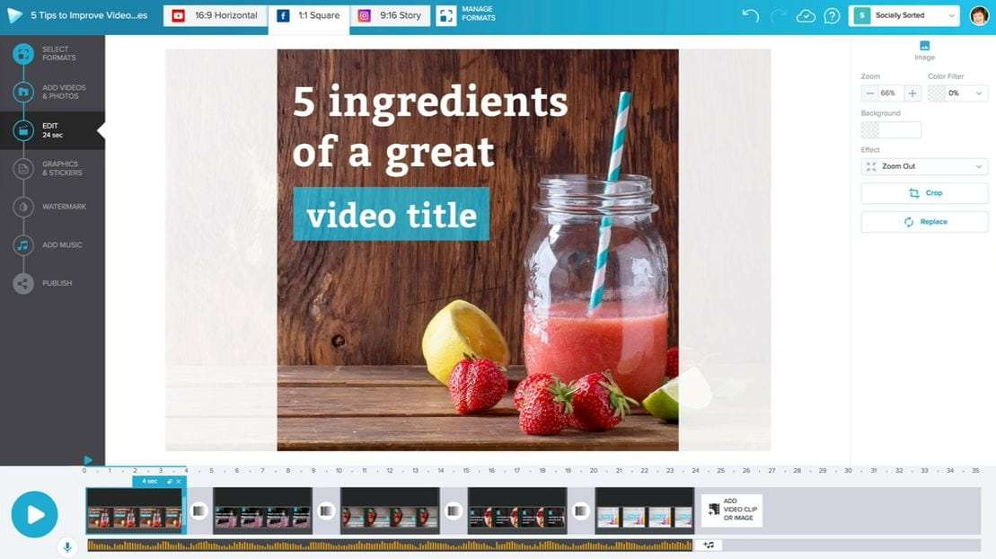 Creating a video in Wave video editor - 9 Best Instagram Tools for Visual Storytelling