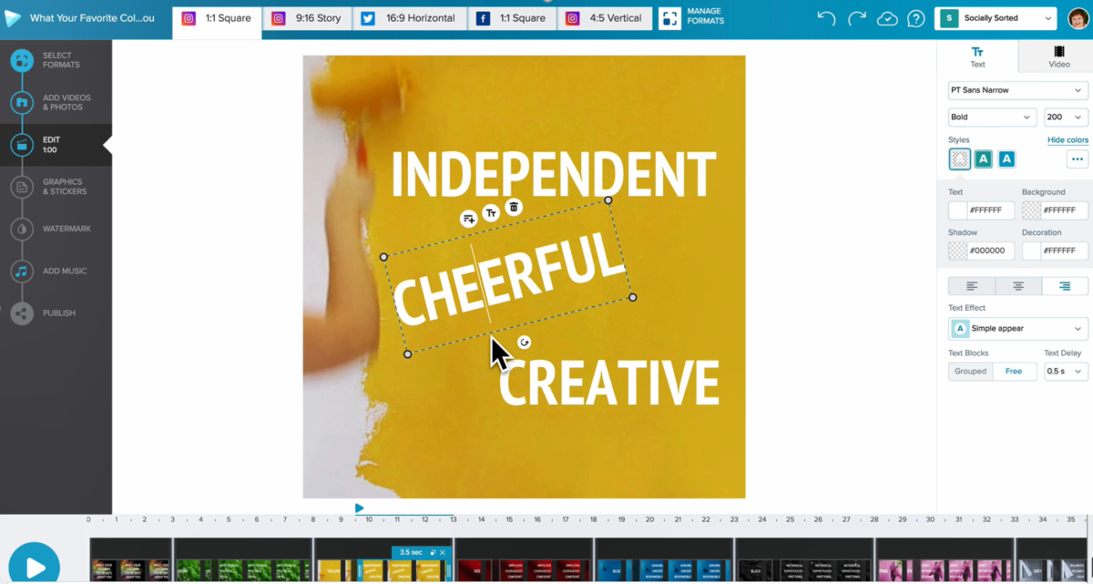 Moveable text in Wave video editor - 9 Best Instagram Tools for Visual Storytelling